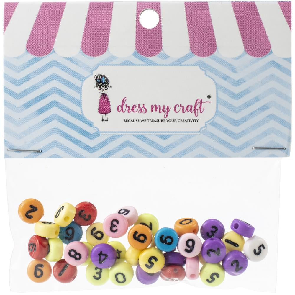 Dress My Crafts Round Number Beads - 50 Pack