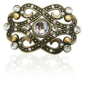 Fashion Buckle -Antique Brass and Diamantes - 40mm