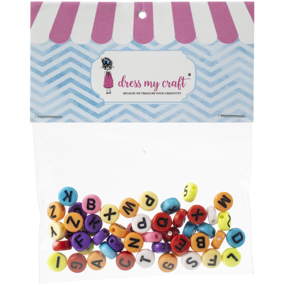 Dress My Crafts Round Letter Beads - 50 Pack