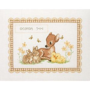 Anchor Essential Kits: Cross Stitch – Baby Animals Birth Record