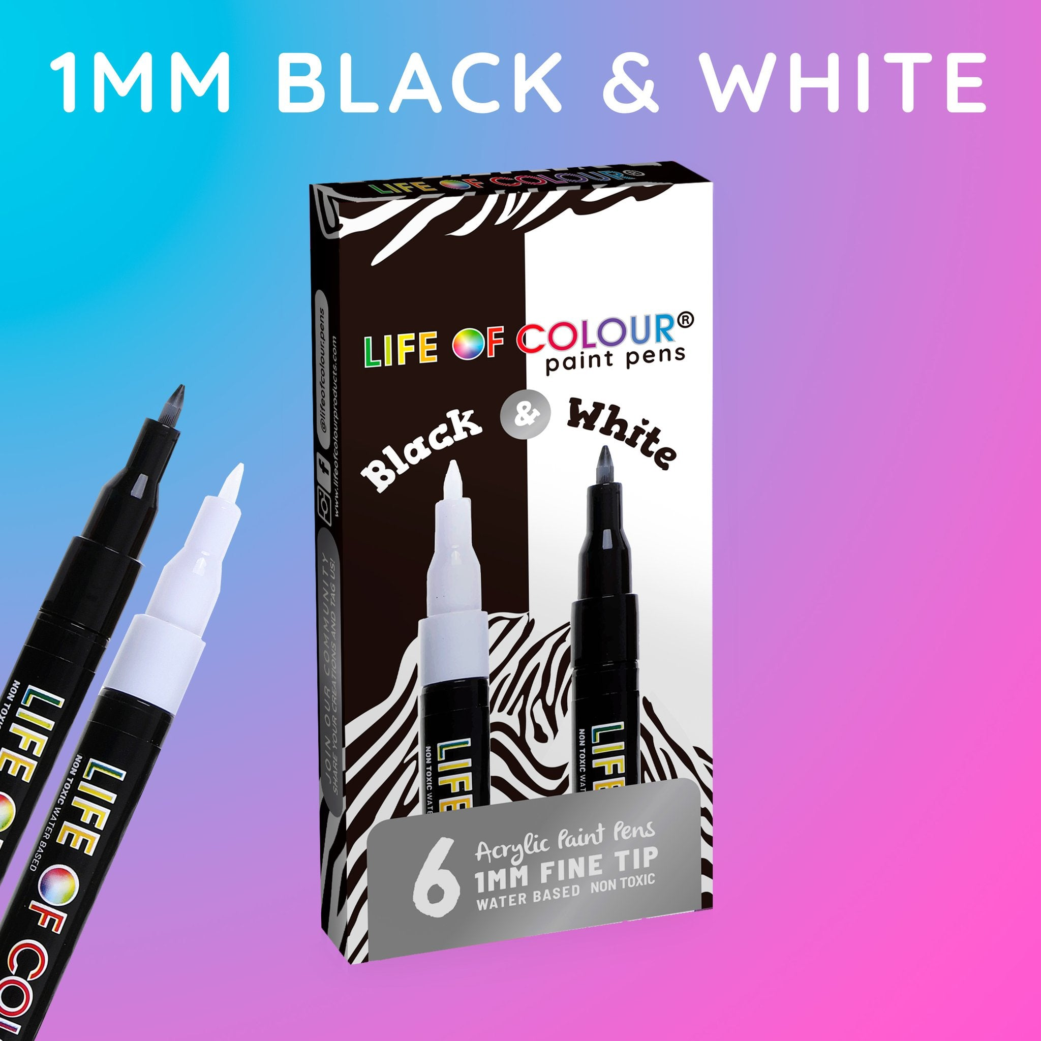 Black and White Paint Pens - Fine Tip (1mm)