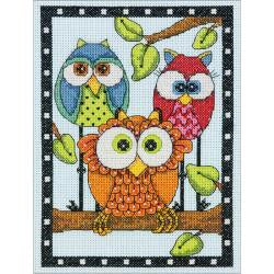 Counted Cross Stitch - Owl Trio