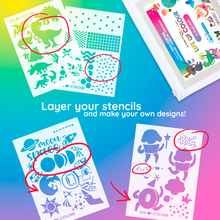 Art Stencils: Aussie animals, dinosaurs, fairies, travel, cupcakes (10 Sheets)