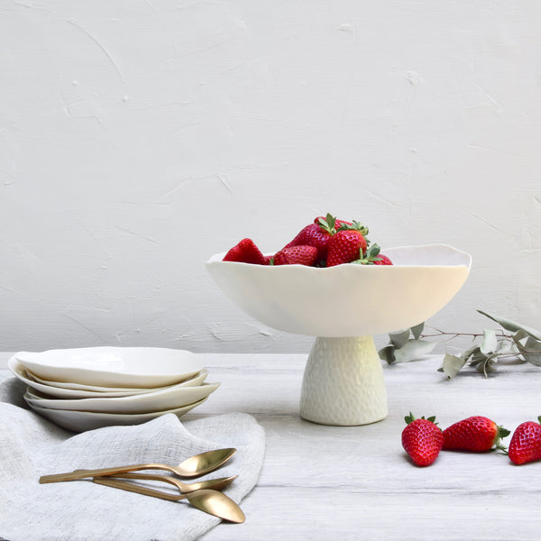 Fruit bowl stand, white porcelain