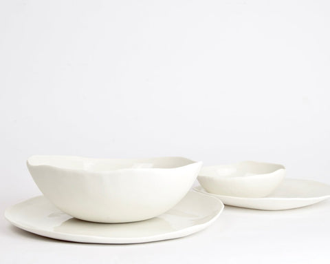 Plates and bowls, white porcelain