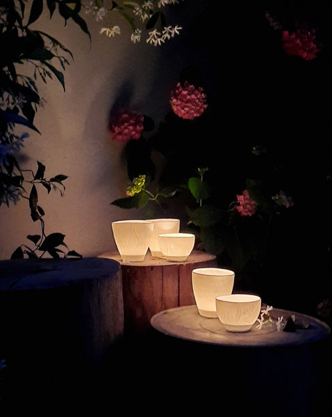 Tealight candle holders, white porcelain