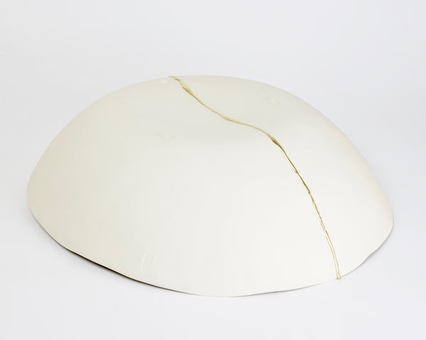 Kintsugi maxi bowl, white porcelain and gold leaf