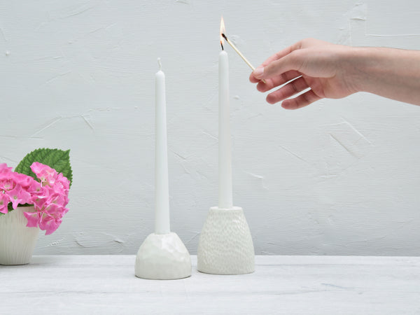 Candle holders, white porcelain