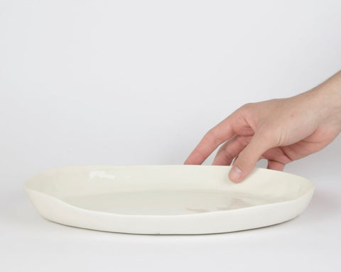 Oval serving tray, white porcelain
