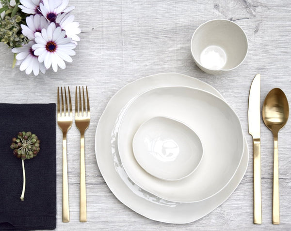 4-plates-set, white porcelain