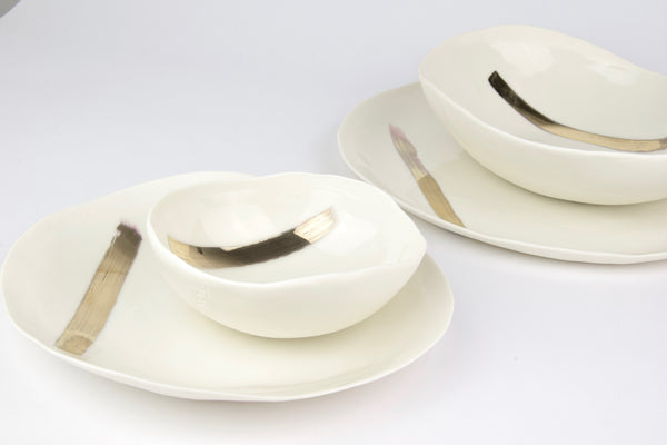 plates set, white porcelain and gold luster