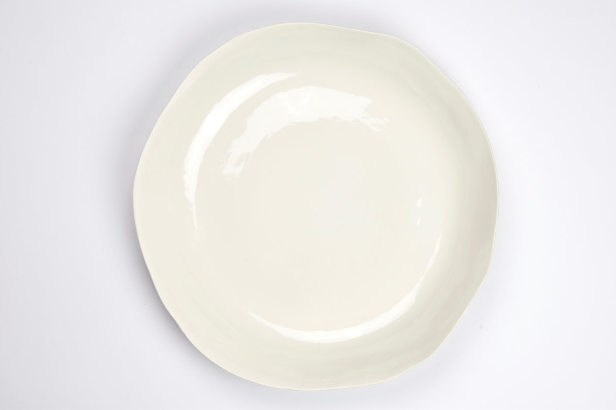 Serving platter,  round or oval, white porcelain