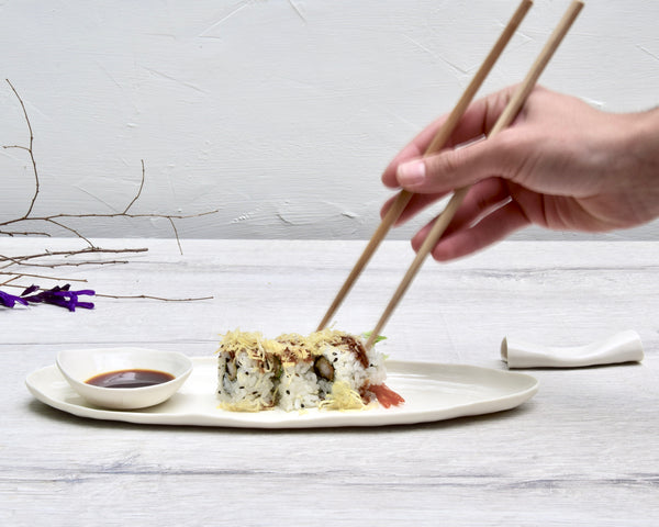 sushi set, white porcelain