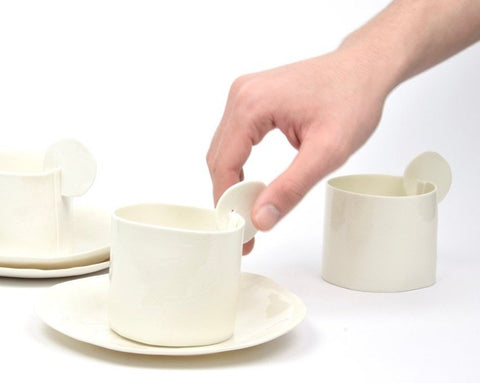Tea and Coffee Cups, white porcelain
