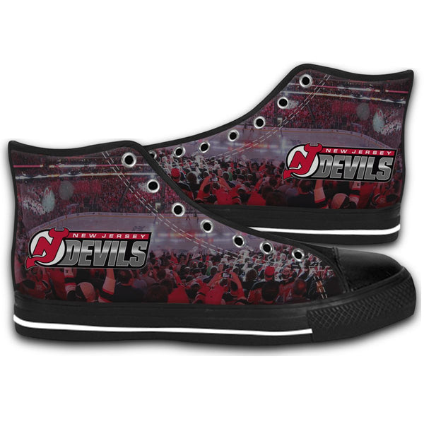 1995 New Jersey Devils Stanley Cup Champions CANVAS STYLE SHOES FASHION SNEAKERS