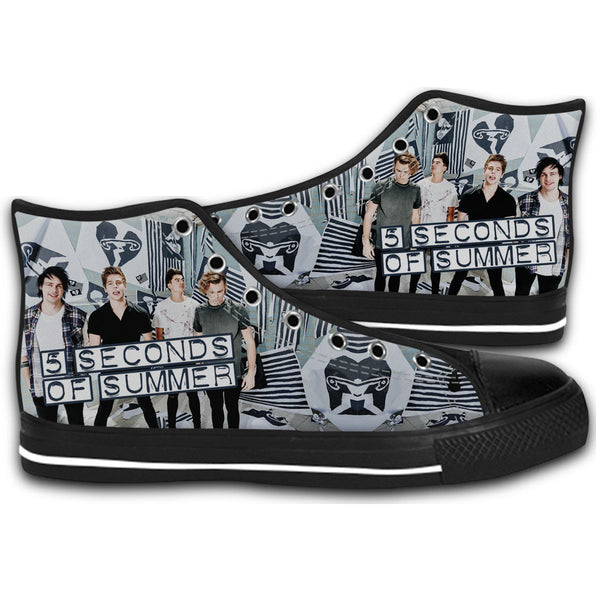 5 SECONDS OF SUMMER STRIPES CANVAS STYLE SHOES FASHION SNEAKERS