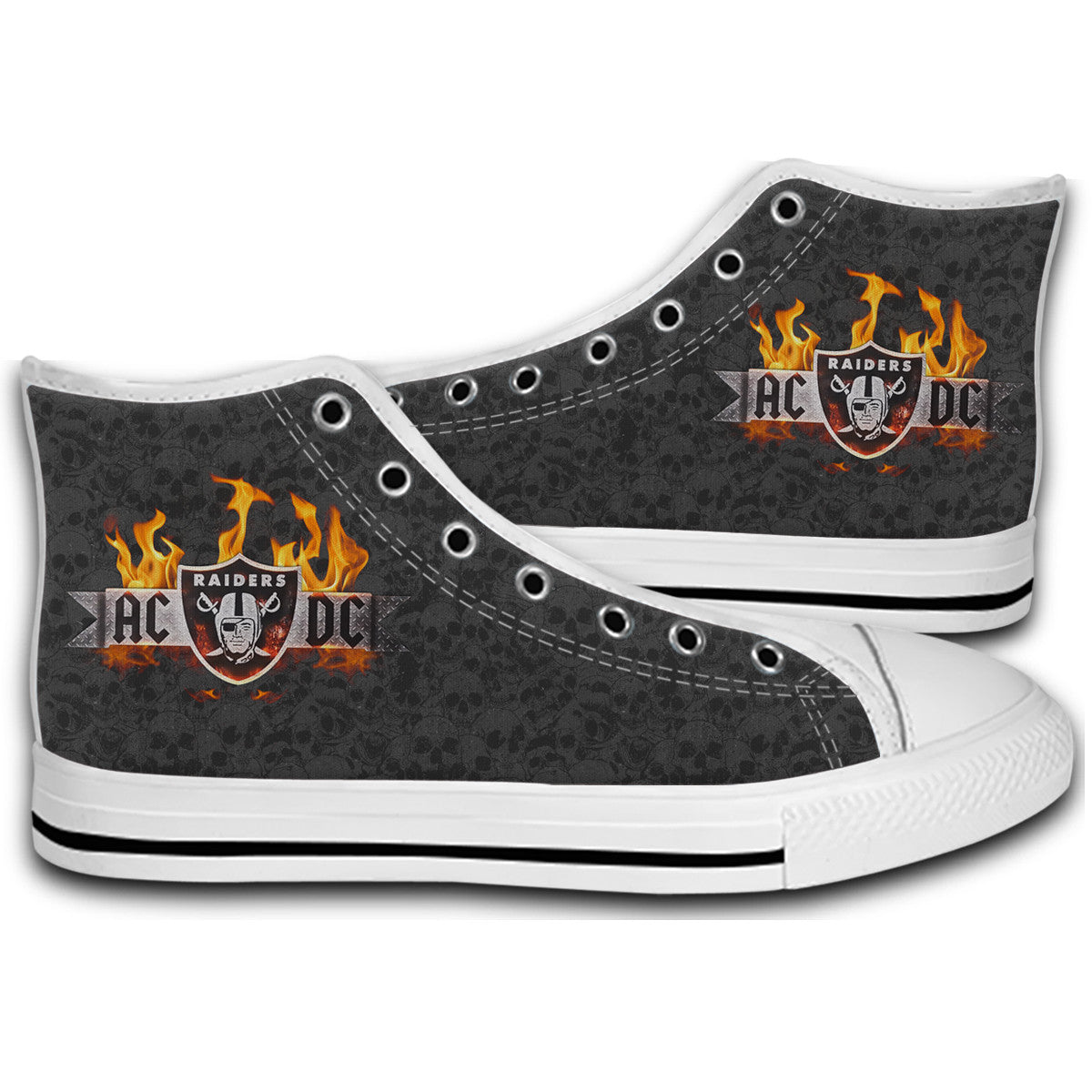 AC DC OAKLAND RAIDERS Canvas Style Shoes Fashion Sneakers