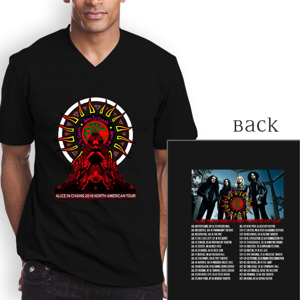 ALICE IN CHAINS NORTH AMERICA Tour 2016 Dates V-Neck 2 Side T-shirt (longsleeve Crop Top Tank Top & Hoodie Available)