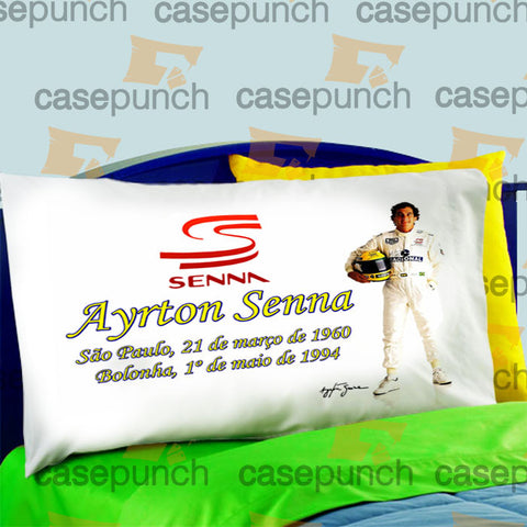 Mz7-ayrton Senna Brazil F1 Logo Pillow Case For Bed Bedding