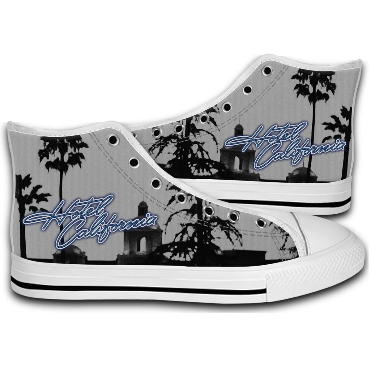 d672f05467211 EAGLES Hotel Of California Rock Band CANVAS STYLE SHOES FASHION ...