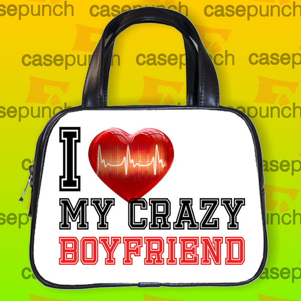 An1-i Love My Crazy Boyfriend Valentine Humor Handbag Purse Woman Bag Classic