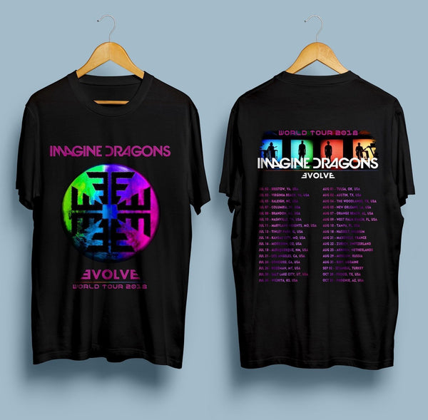 Imagine Dragons New T-Shirt Evolve World Tour 2018 two side New T-shirt (longsleeve Crop Top Tank Top & Hoodie Available)