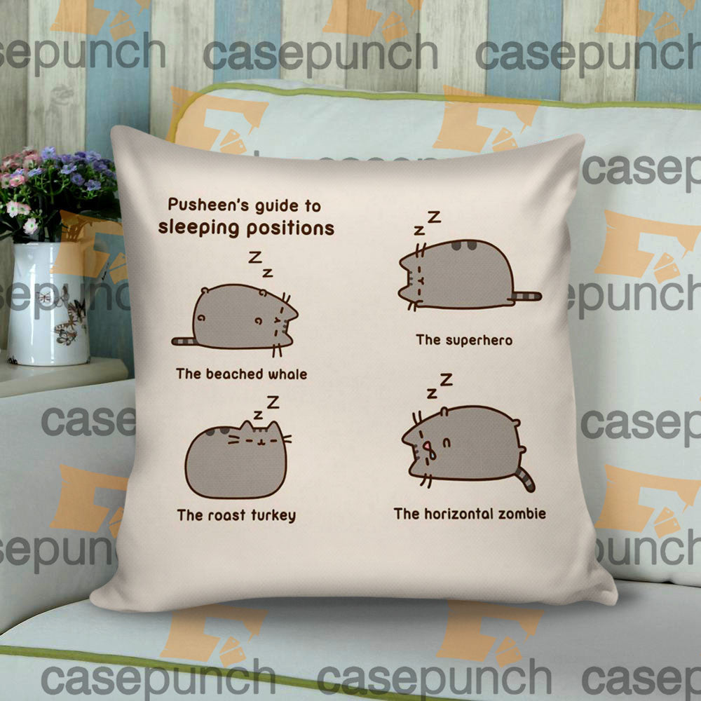 Sr2-pusheen Cat So Lazy Can't Move Cushion Pillow Case