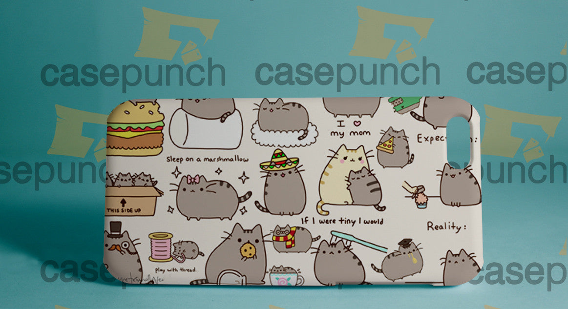 Mz4-pusheen Cat So Lazy Can't Move For Iphone 6 6 Plus 5 5s Galaxy S5 S5 Mini S4 & Other Smartphone Hard Back Case Cover