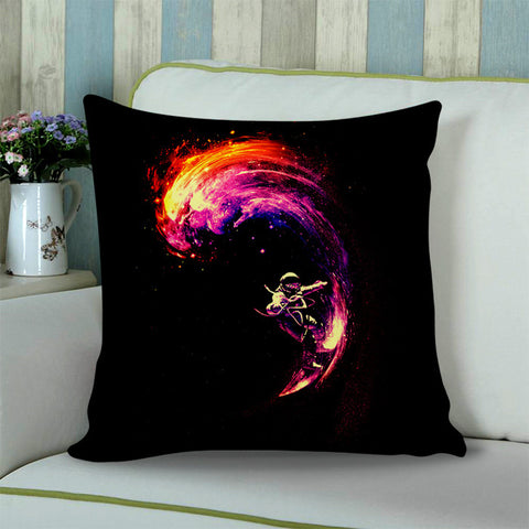 Spaceman Surfing Space NASA Cushion Pillow Case