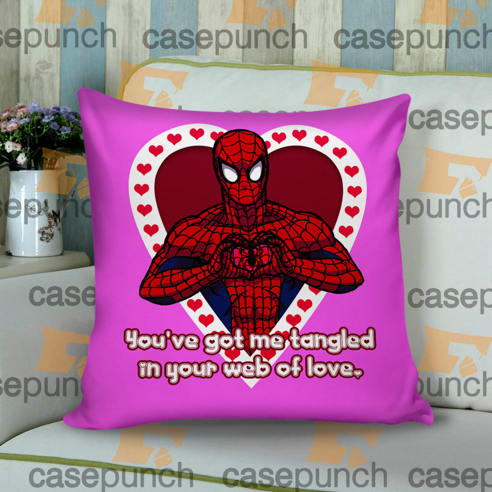 Sr1-spiderman Hearts Deadpool In Valentine Cushion Pillow Case