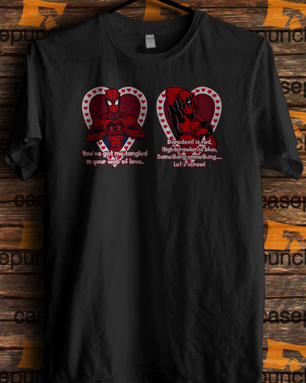 Sr1-spiderman Hearts Deadpool In Valentine (longsleeve Crop Top Tank Top & Hoodie Available)