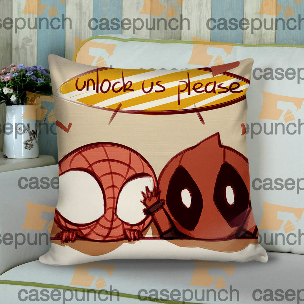 Sr4-spiderman Hearts Deadpool In Valentine Cushion Pillow Case
