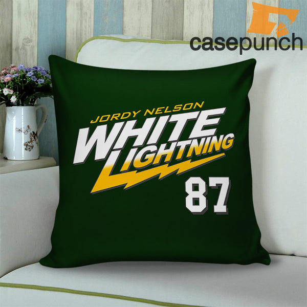 5fc7d979f432 Sr1-white Lightning 87 Jordy Nelson Throw Pillow Cushion Case