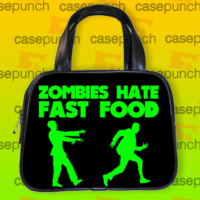 An10-zombies Hate Fast Food Handbag Purse Woman Bag Classic