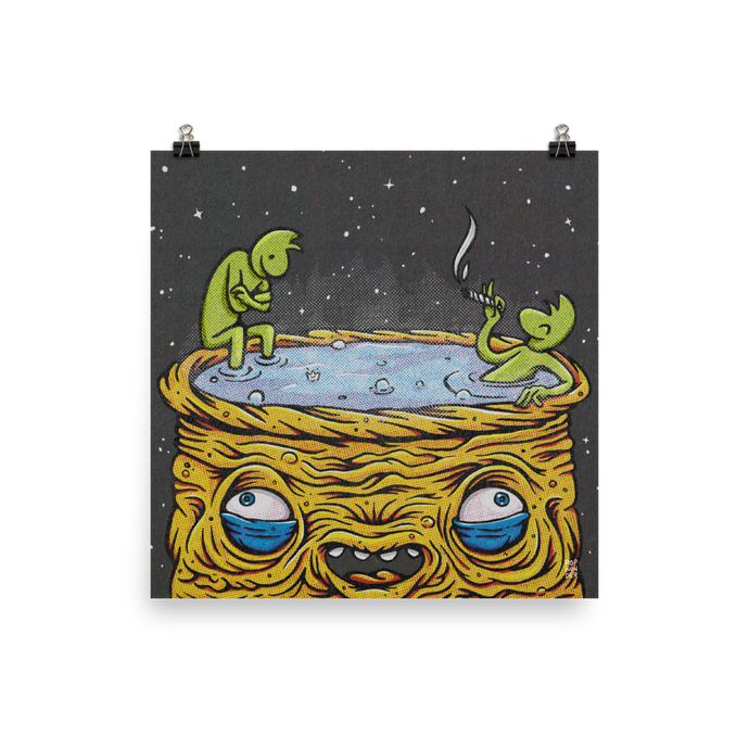 Two small aliens sit in a giant hot tub alien to relax and smoke a joint.