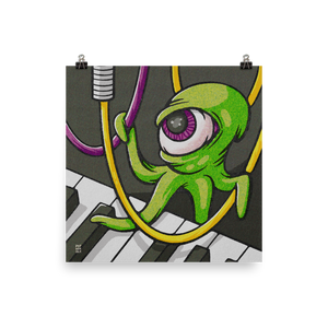 An octopus-like alien with one giant eyeball hangs from the patch cables of a synthesizer.