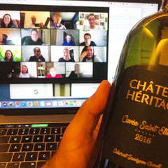 online team event, bringing colleagues together wine an online wine tasting, bottle of red lebanese wine