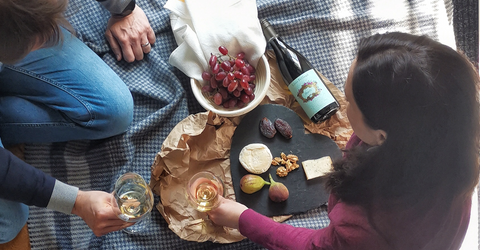 online wine course get comfy with wine. Great date night at home idea to have fun and learn about wines. Couple sharing wine and food on a picnic blanket at home