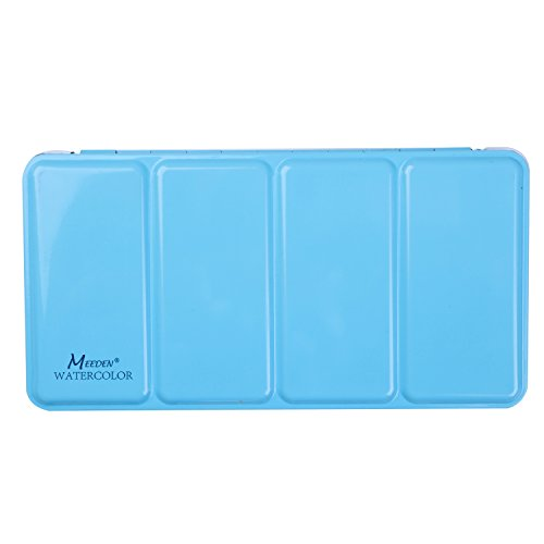 MEEDEN Empty Watercolor Tins Box Palette Paint Case, Large Blue Tin with 24 Pcs Full Pans