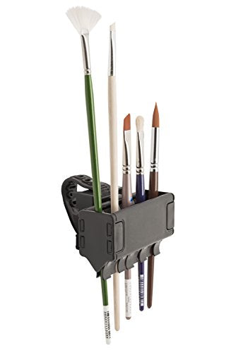 Brush Grip Paintbrush Holder and Drying Rack/Caddy, Painting Supplies (Black)