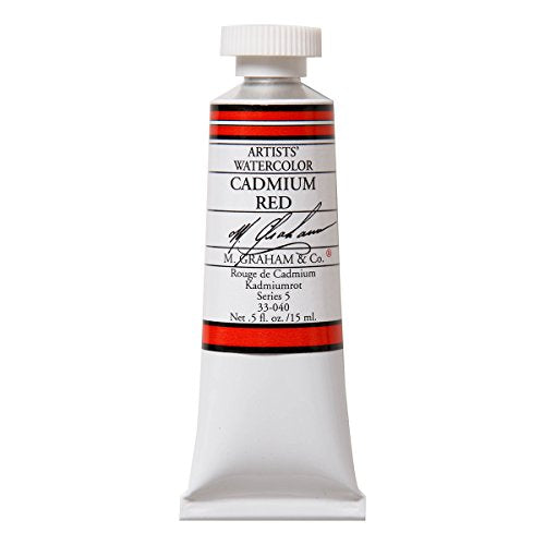 M. Graham 1/2-Ounce Tube Watercolor Paint, Cadmium Red (33-040)