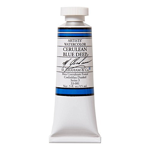 M. Graham 1/2-Ounce Tube Watercolor Paint, Cerulean Blue Deep