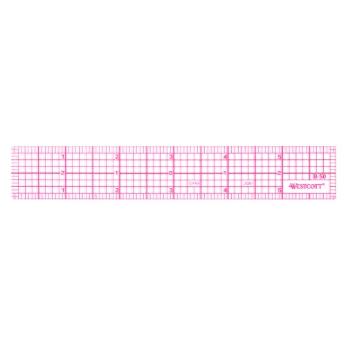"Westcott 8ths 6-Inch Beveled Transparent Ruler (B-50), Clear, 6"" x 6.75"" x 0.06"""