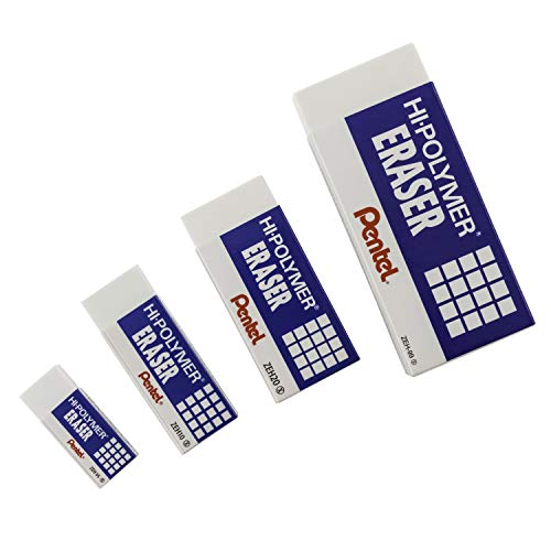 Pentel Hi-Polymer Block Eraser, Large, White, Pack of 10 ZEH-10 Erasers (ZEH10PC10)