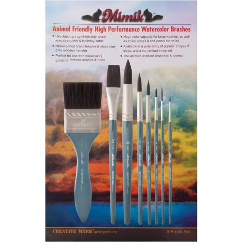 Creative Mark Professional Artist Watercolor Paintbrush Set, Mimik Synthetic Squirrel Hair for Watercolour, Acrylics, Gouache, and Washes - Value Set of 8 Assorted Sizes