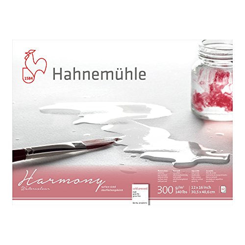 Hahnemuhle Harmony Watercolor Block Cold Pressed 12x16 inches 12 Sheets,White
