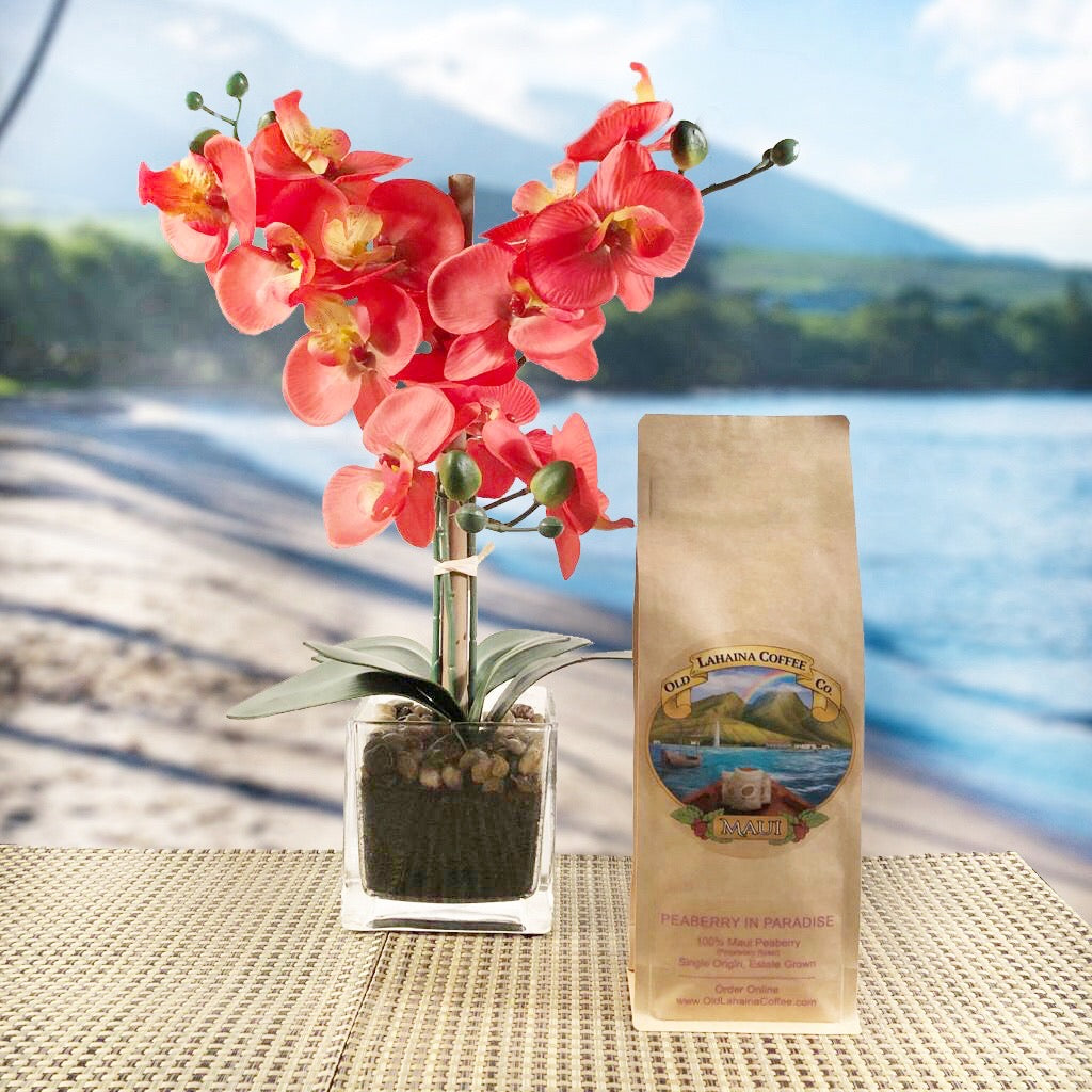 100% Maui Peaberry Coffee Beans in Resealable Kraft Bag with Old Lahaina Coffee logo