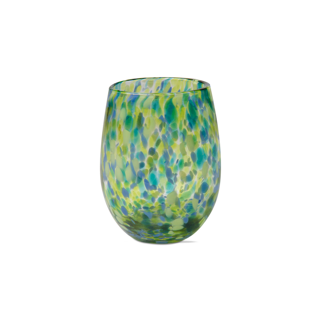 Green & Blue Confetti Stemless Wine Glass