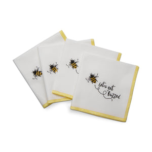 Set of 4 Bee Fabric Cocktail Napkins