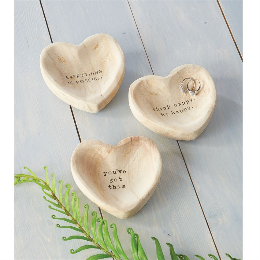 Wooden Heart Trinket Tray